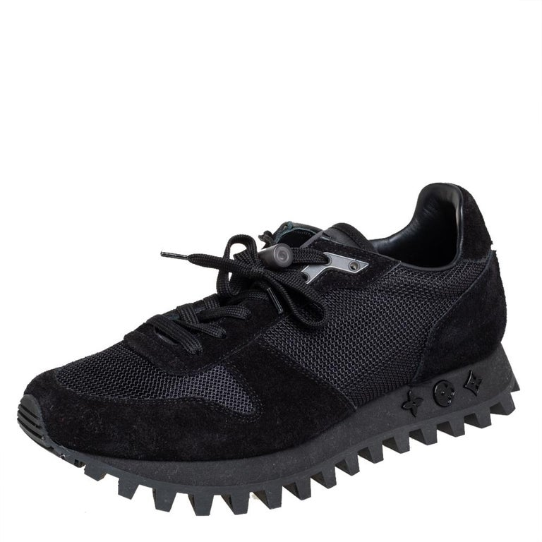 The LV Runner by Louis Vuitton presents the running shoe design in a luxe manner. Crafted using suede and mesh, these sneakers in black feature lace-up closure and monogram details on the soles.