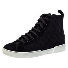 Louis Vuitton Black Suede And Monogram Stellar High Top Sneakers Size 36.5