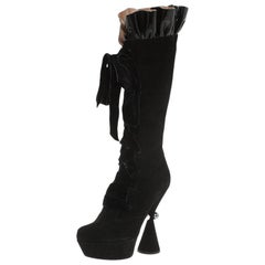 Louis Vuitton Black Suede and Velvet Lace Up Knee Boots Size 37