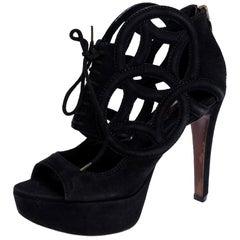 Louis Vuitton Black Suede Cutout Monogram Platform Ankle Boots Size 36
