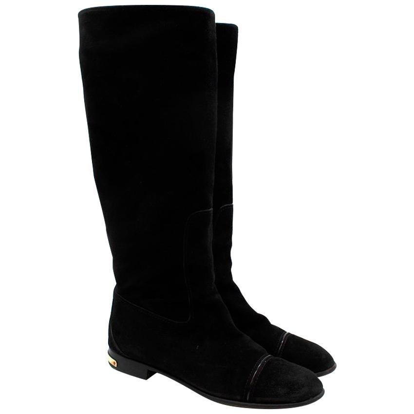 Louis Vuitton Black Suede Flat Boots - Size EU 40
