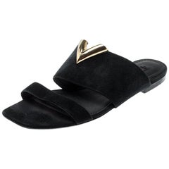 Louis Vuitton Black Suede Flat Sandals Size 36