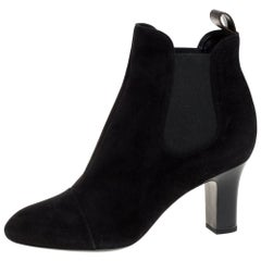 Louis Vuitton Black Suede Leather Ankle Booties Size 38.5