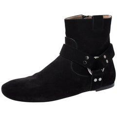 Louis Vuitton Black Suede Leather Ankle Boots Size 38