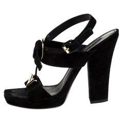 Louis Vuitton Black Suede Medallion Sandals Size 39.5