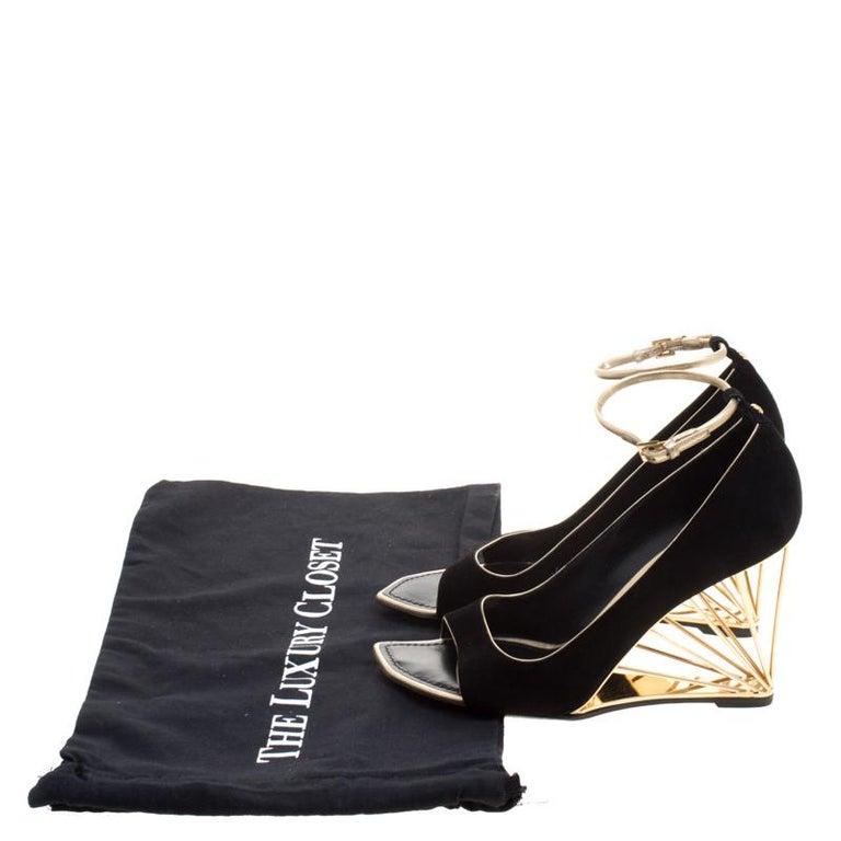 7a6eb8d64c0a Louis Vuitton Black Suede Open Toe Wedge Pumps Size 37 at 1stdibs