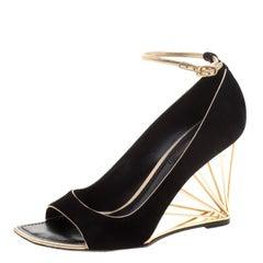 Louis Vuitton Black Suede Open Toe Wedge Pumps Size 37