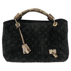 Louis Vuitton Black Suede Python Handles Bag