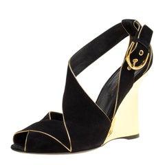 Louis Vuitton Black Suede Wedge Sandals Size 38