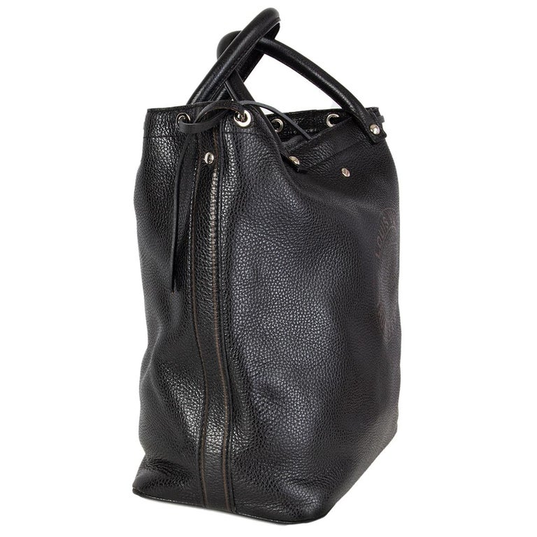 100% authentic Louis Vuitton Tobago 'Trunks & Bags Suhali' limited edition handbag in black soft Suhali leather with siver-tone hardware and a sturdy double zipper top closure. It is lined in gray textile fabric that has the Louis Vuitton chains