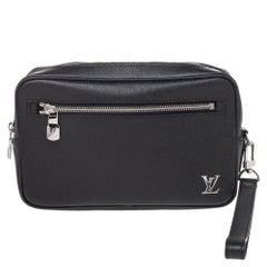 Louis Vuitton Black Taiga Leather Kasai Wristlet Bag