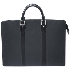 Louis Vuitton Black Taiga Leather Lozan Briefcase