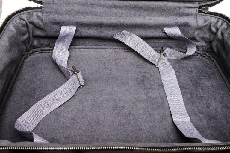 Women's or Men's Louis Vuitton Black Taiga Leather Satellite 53 Suitcase For Sale