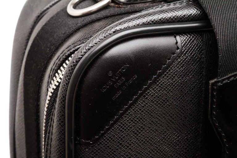 Louis Vuitton Black Taiga Leather Satellite 53 Suitcase For Sale 2