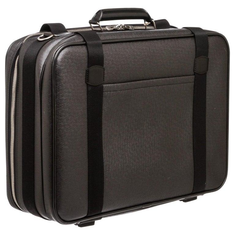 Louis Vuitton Black Taiga Leather Satellite 53 Suitcase For Sale