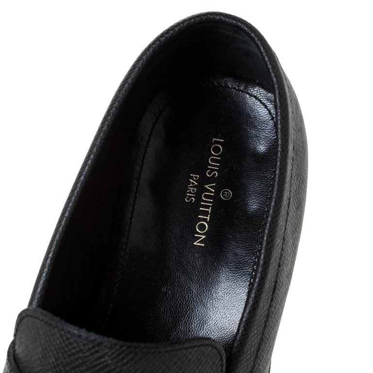 Louis Vuitton Black Textured Leather Penny Loafers Size 40 For Sale 4