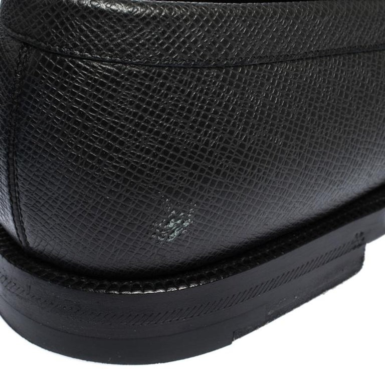 Louis Vuitton Black Textured Leather Penny Loafers Size 40 For Sale 5