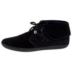 Louis Vuitton Black Textured Monogram Suede Tassel Boots Size 39
