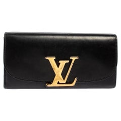 Louis Vuitton Black Veau Racine Leather Vivienne LV Long Wallet