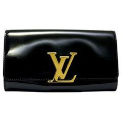 Louis Vuitton Black Vernice Louise GM Clutch Bag