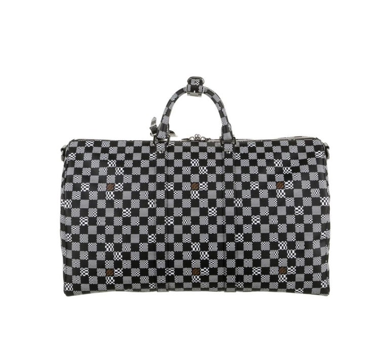 Louis Vuitton Black White Check Men's Women's Carryall Travel Weekend Duffle Bag In Excellent Condition In Chicago, IL