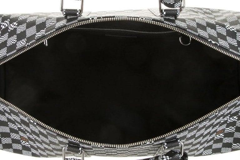 Louis Vuitton Black White Check Men's Women's Carryall Travel Weekend Duffle Bag 1