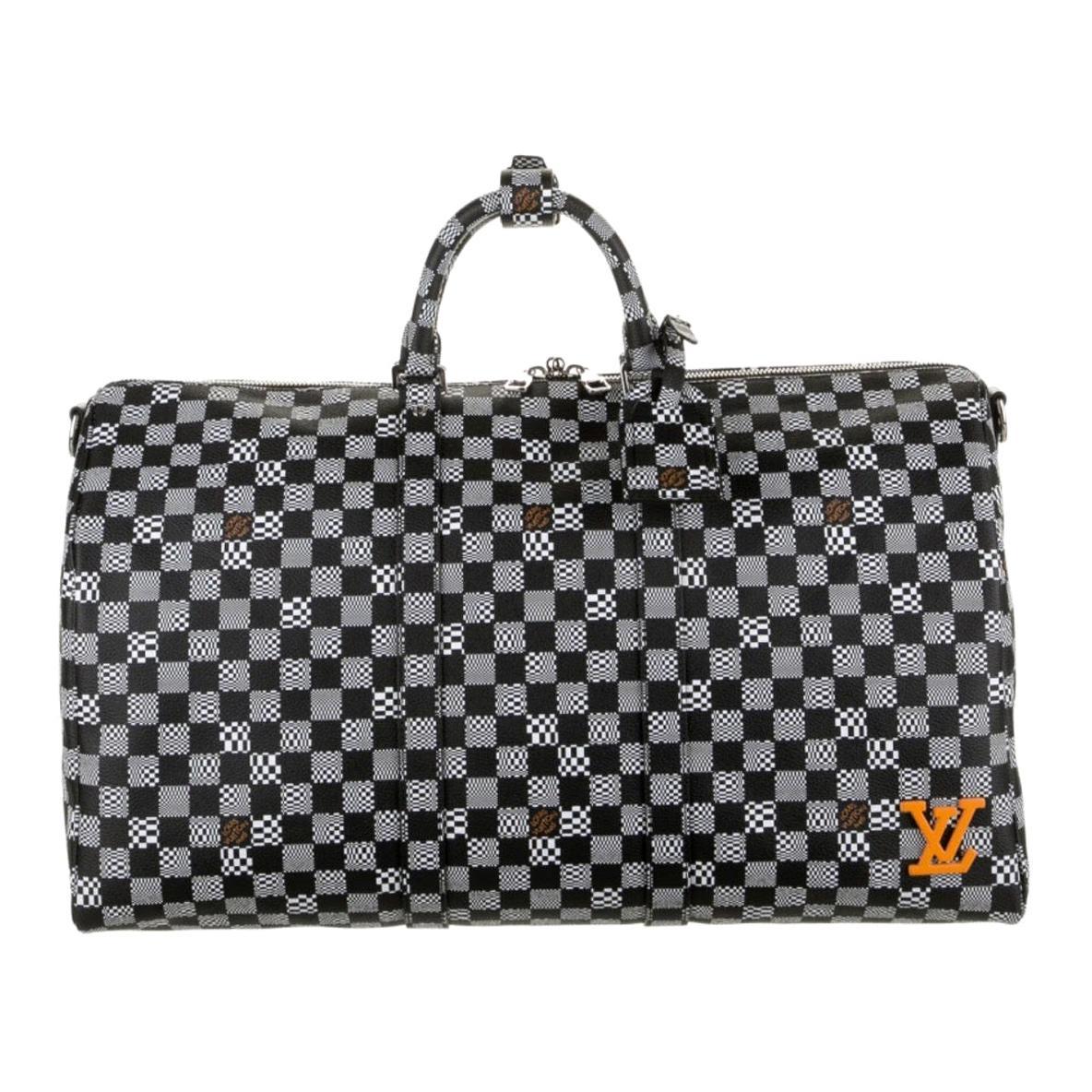 Louis Vuitton Black White Check Men's Women's Carryall Travel Weekend Duffle Bag