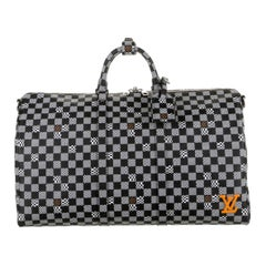 Louis Vuitton Black White Check Men's Women's Carryall Travel Weekend Duffle Bag