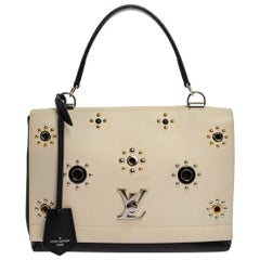 Louis Vuitton Black/White Leather Lockme II Mechanical Flower Bag
