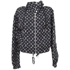 Louis Vuitton Black White Monogram Silver Men's Women's Light Windbreaker Jacket