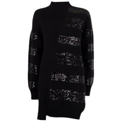 LOUIS VUITTON black wool SEQUIN EMBELLISHED Sweater Cocktail Dress M