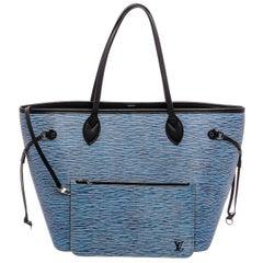 Louis Vuitton Bleu Denim Epi Leather Neverfull MM Bag