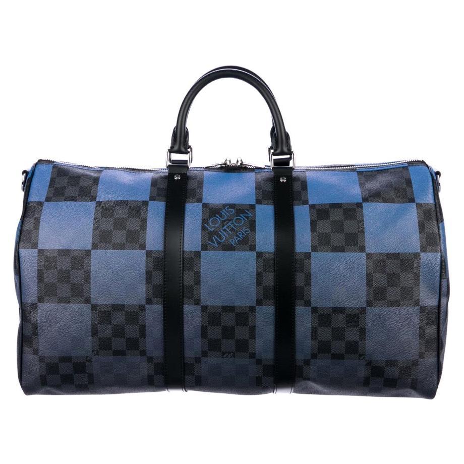 Louis Vuitton Blue Black Check Men's Women's Carryall Travel Weekend Duffle Bag