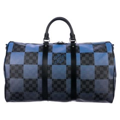 Louis Vuitton Blue Black Check Men's Women's Carryall Travel Weekend Duffle Bag