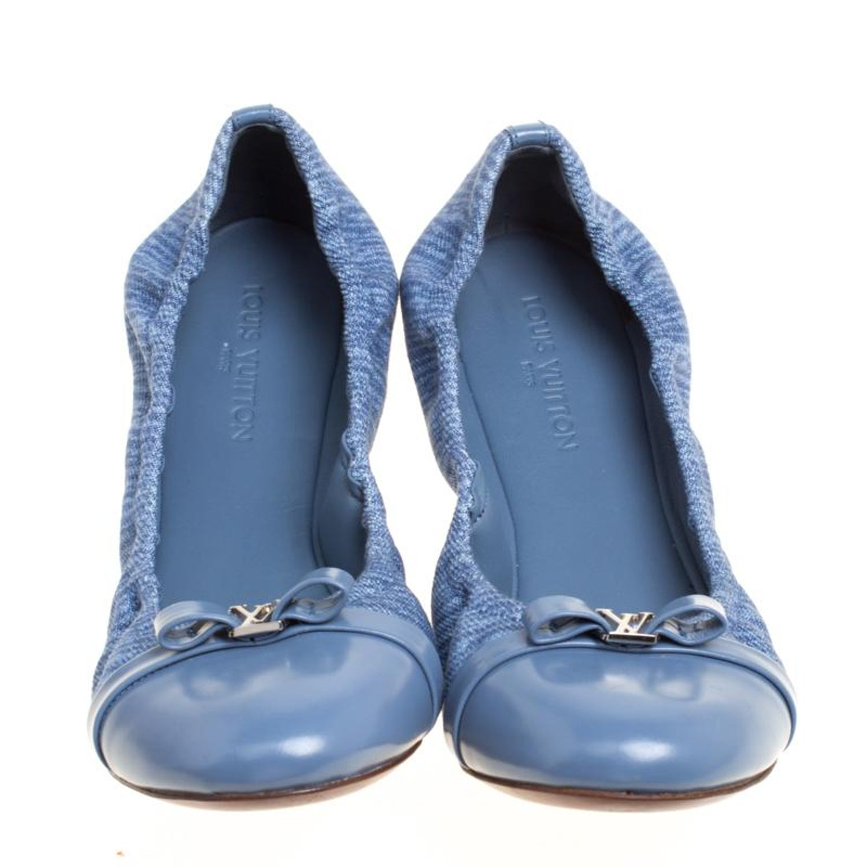 d9c4c691d34d Louis Vuitton Blue Canvas and Leather Elba Scrunch Ballet Flats Size 38 at  1stdibs
