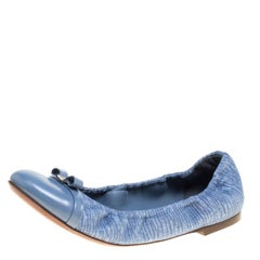 Louis Vuitton blau Leinen und Leder Elba Scrunch Ballett Ballerinas Größe 38