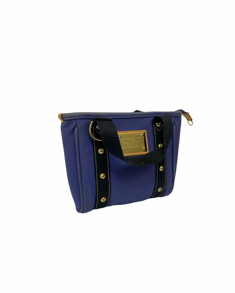 Women's Louis Vuitton Blue Canvas Antigua Cabas PM Bag  For Sale