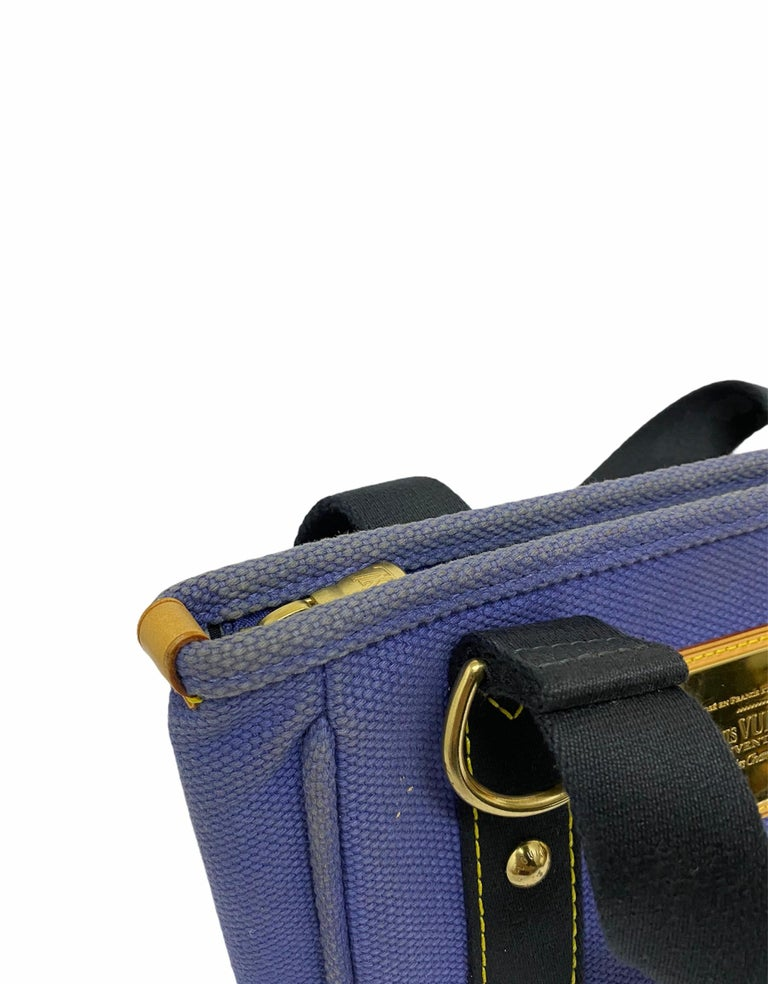 Louis Vuitton Blue Canvas Antigua Cabas PM Bag  For Sale 2