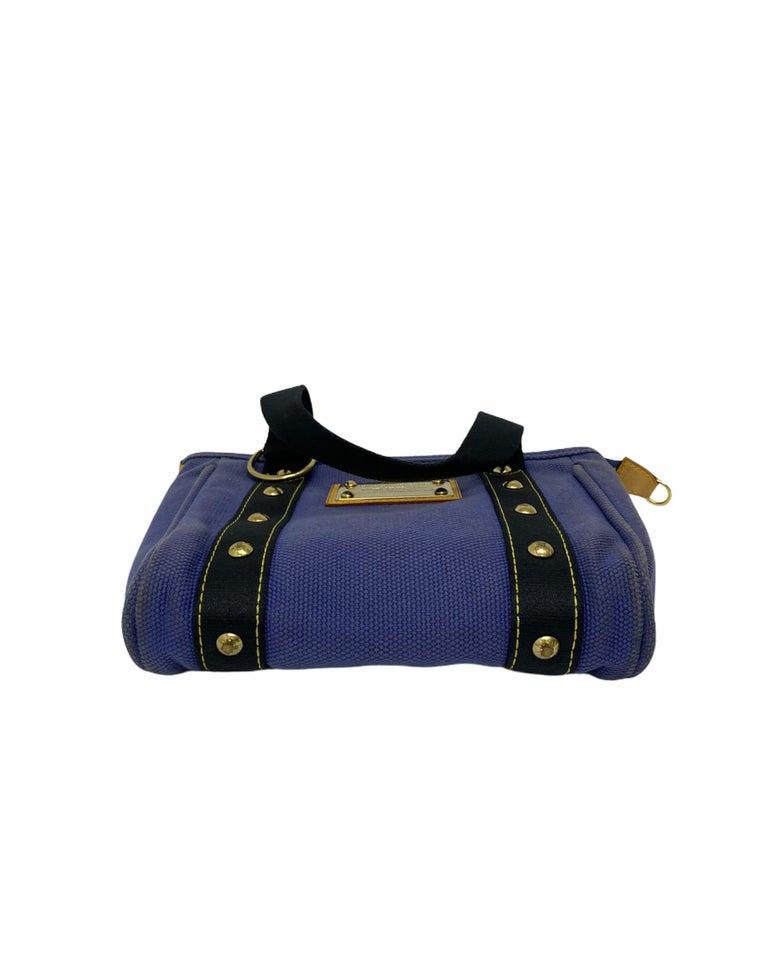 Louis Vuitton Blue Canvas Antigua Cabas PM Bag  For Sale 3