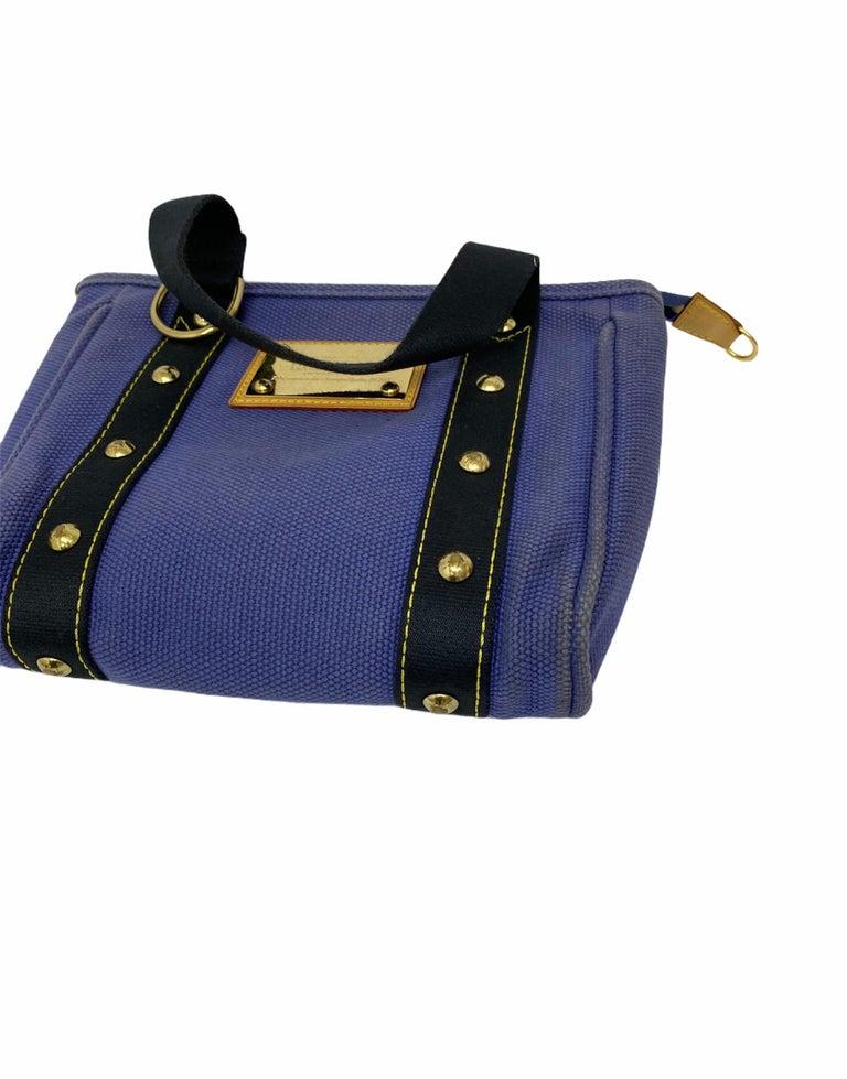 Louis Vuitton Blue Canvas Antigua Cabas PM Bag  For Sale 4