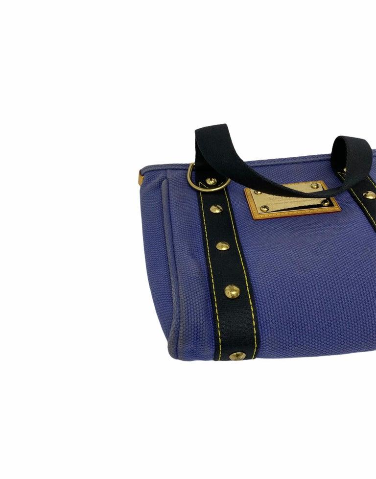 Louis Vuitton Blue Canvas Antigua Cabas PM Bag  For Sale 5