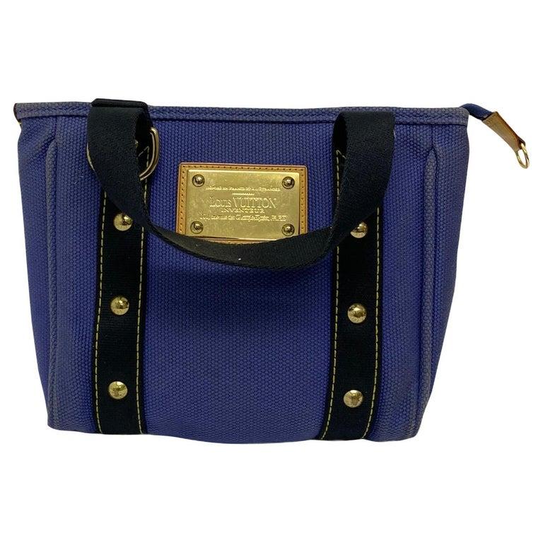 Louis Vuitton Blue Canvas Antigua Cabas PM Bag  For Sale