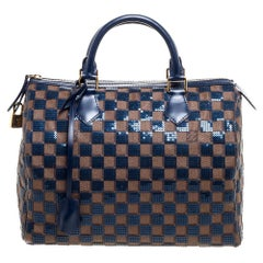 Louis Vuitton Blue Damier Ebene Paillettes Limited Edition Speedy 30 Bag