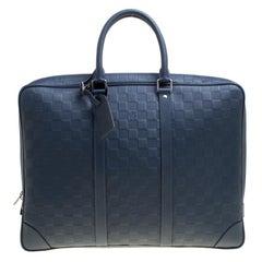 Louis Vuitton Blue Damier Infini Leather Porte Documents Voyage Briefcase