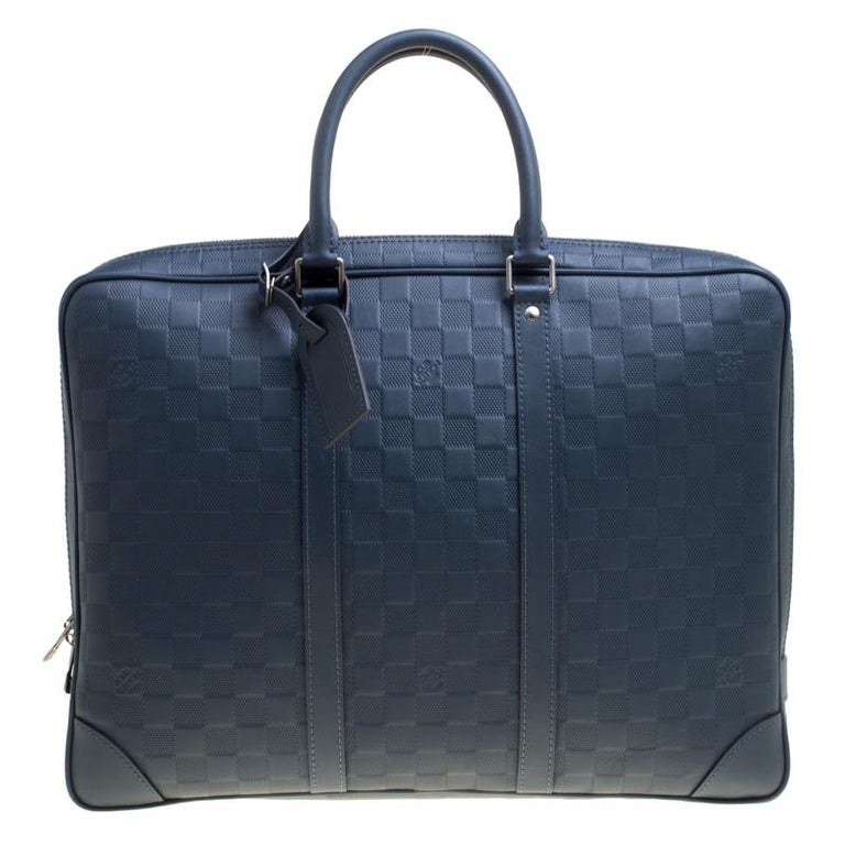 a4096aa7eb08e Louis Vuitton Blue Damier Infini Leather Porte Documents Voyage Briefcase 1