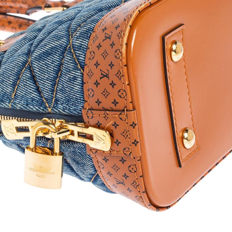 Louis Vuitton Blue Denim and Monogram Leather Alma BB Bag 5