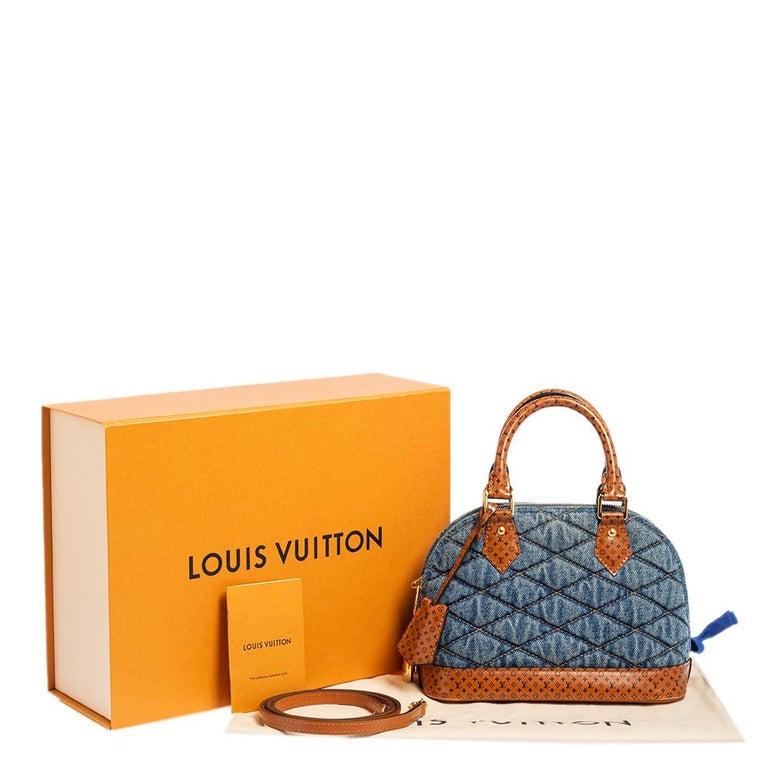 Louis Vuitton Blue Denim and Monogram Leather Alma BB Bag 6