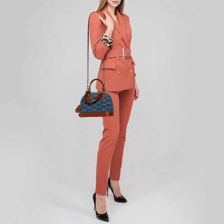 Brown Louis Vuitton Blue Denim and Monogram Leather Alma BB Bag