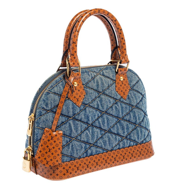 Louis Vuitton Blue Denim and Monogram Leather Alma BB Bag In Good Condition In Dubai, Al Qouz 2