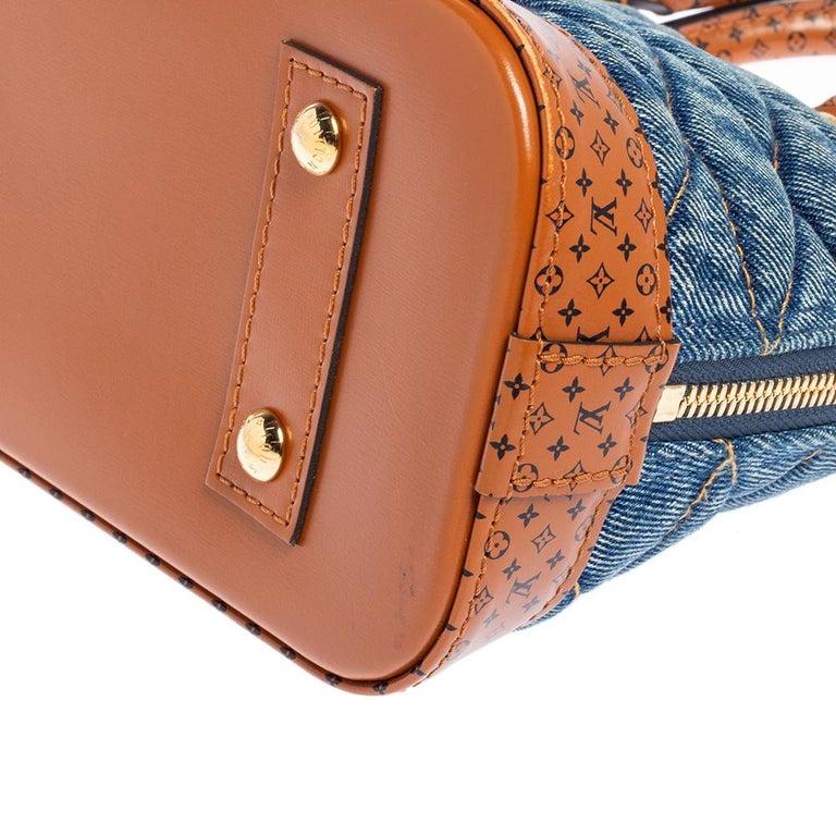 Louis Vuitton Blue Denim and Monogram Leather Alma BB Bag 2